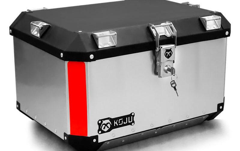Maletero en aluminio 47L casco y medio para moto color aluminio reflectivo rojo Koju Motos 1